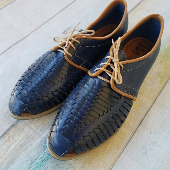 61331507608f0 Handmade Shoes - Handmade Leather Mexican Huarache Lace Up Loafers
